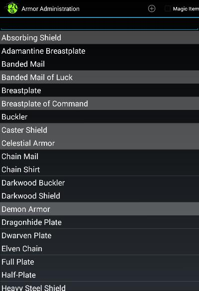 Armor Administration Menu