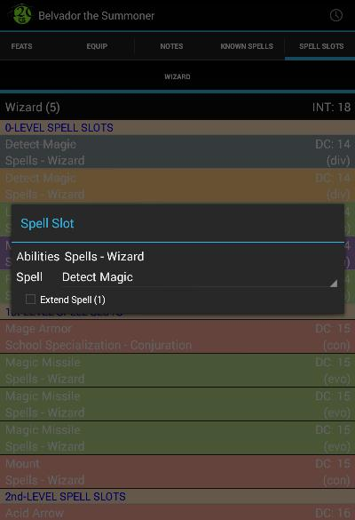 Edit spell slot